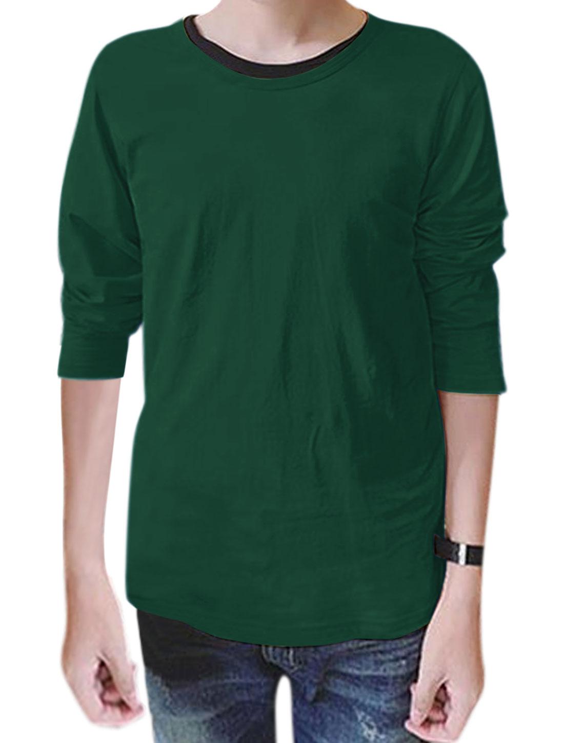 Men Round Neck Long Sleeves Slim Fit Tee Shirt Green M