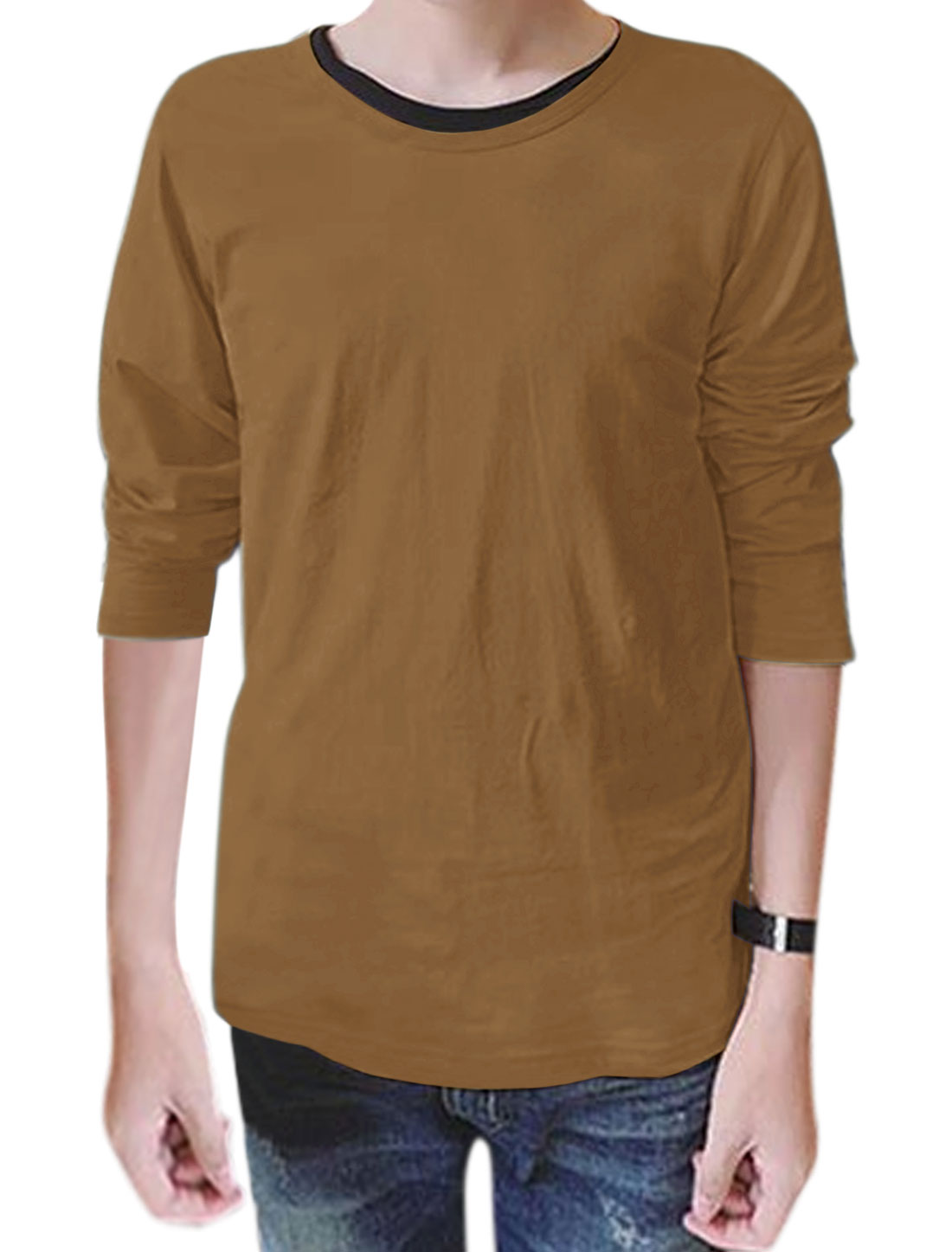 Man Round Neck Long Sleeves Slim Fit T-Shirt Brown M