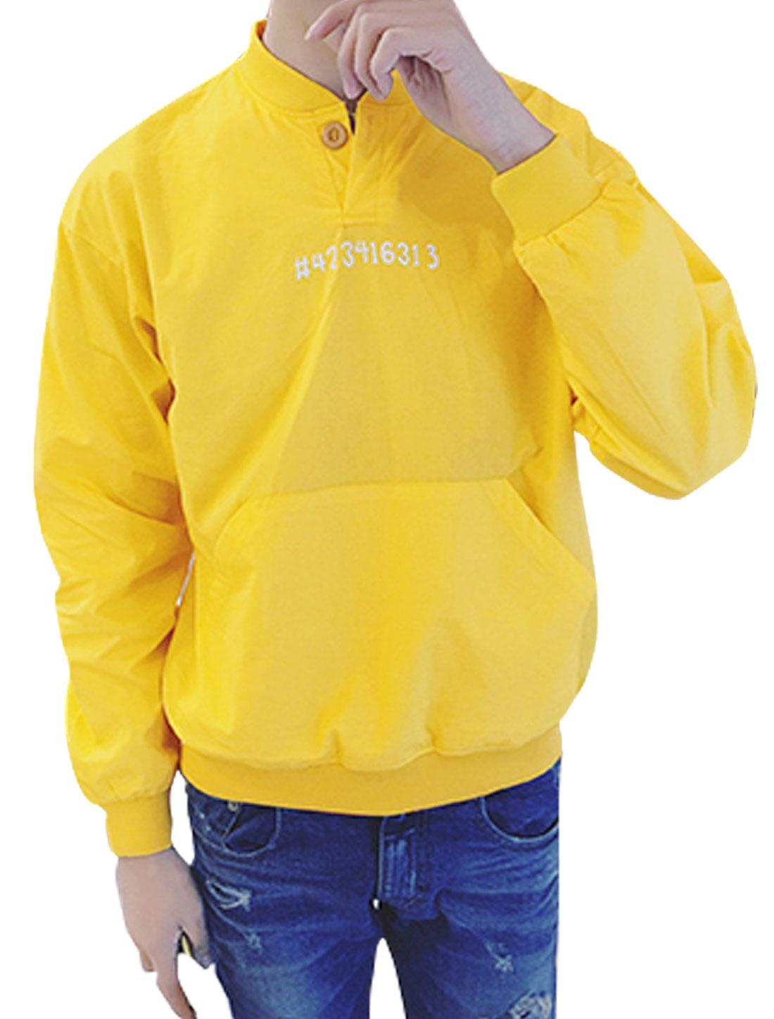 Men Stand Collar Kangaroo Pocket Symbol Numbers Top Yellow M