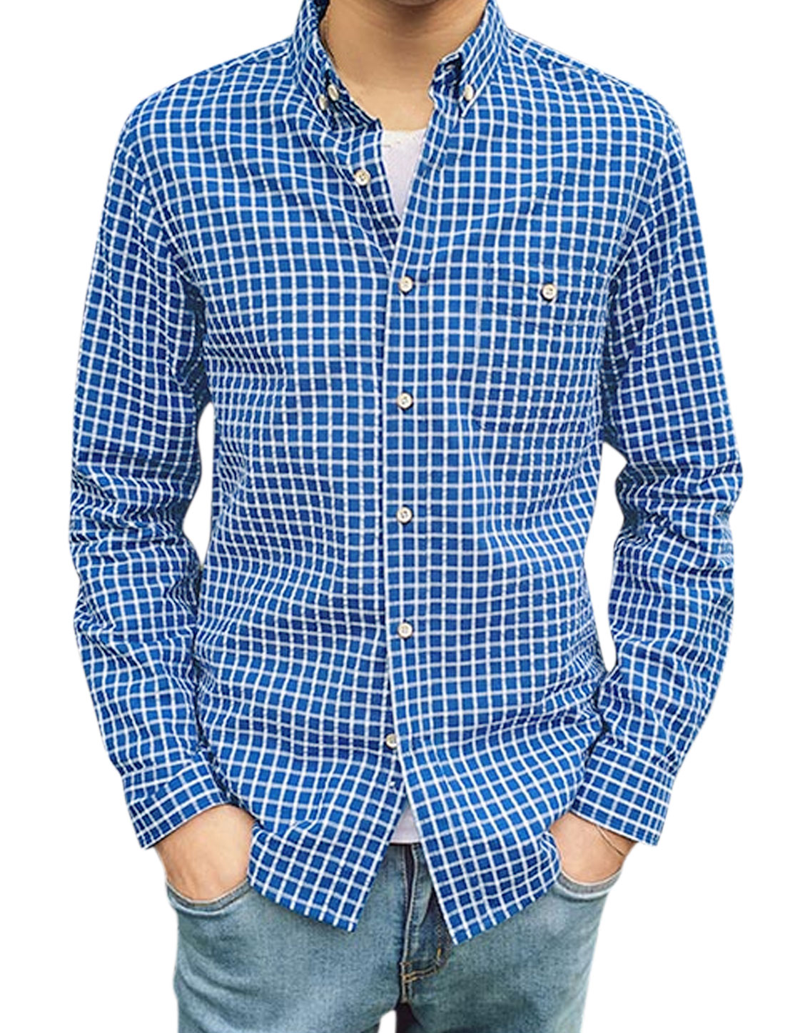 Men Chest Pocket Point Collar Single Breasted Plaids Shirt Royal Blue M