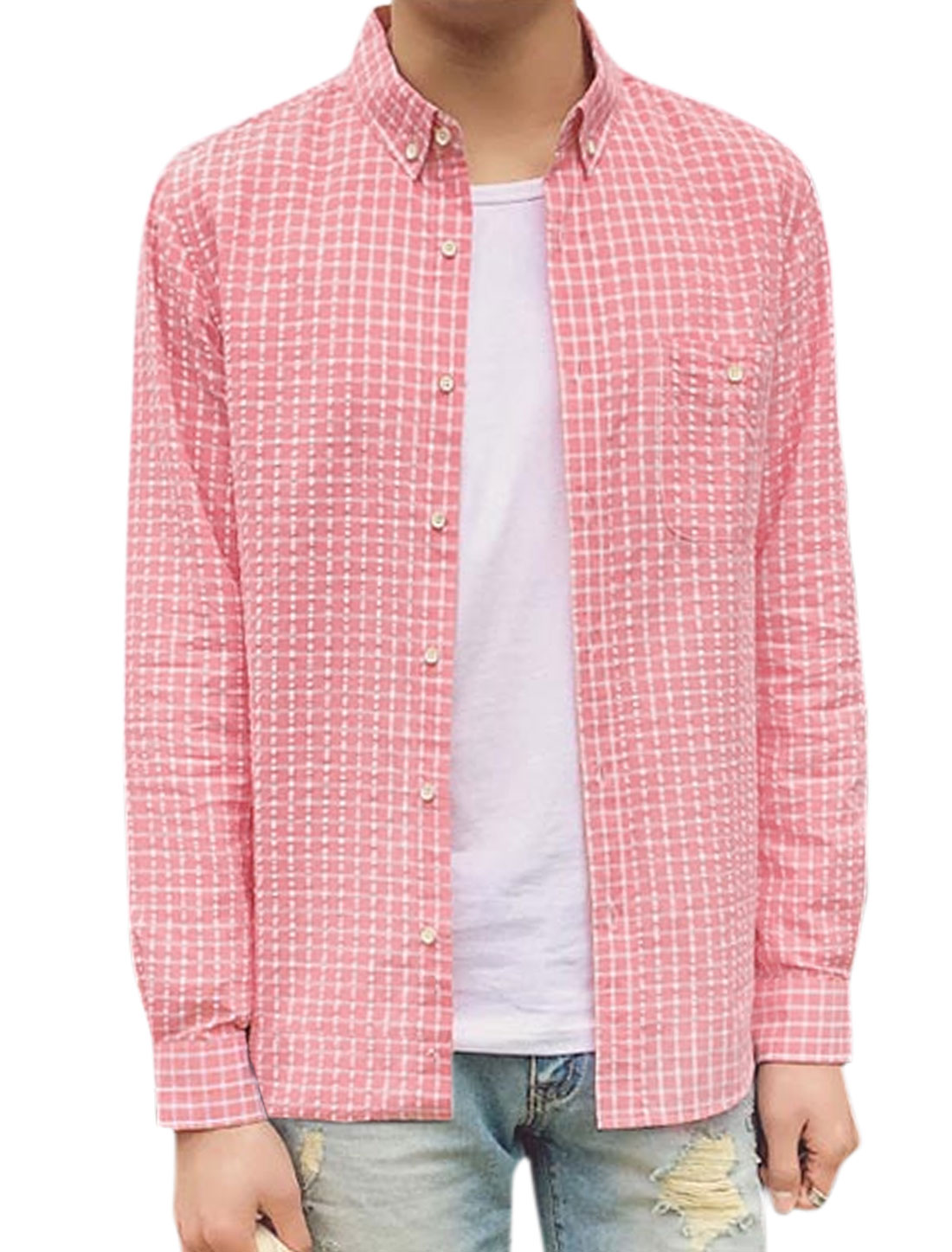 Men Chest Pocket Point Collar Single Breasted Plaids Shirt Pink M