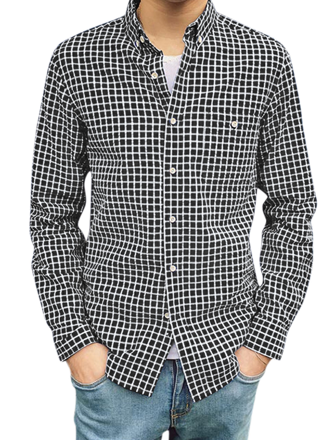 Men Long Sleeves Collared Single Breasted Plaids Shirt Black M