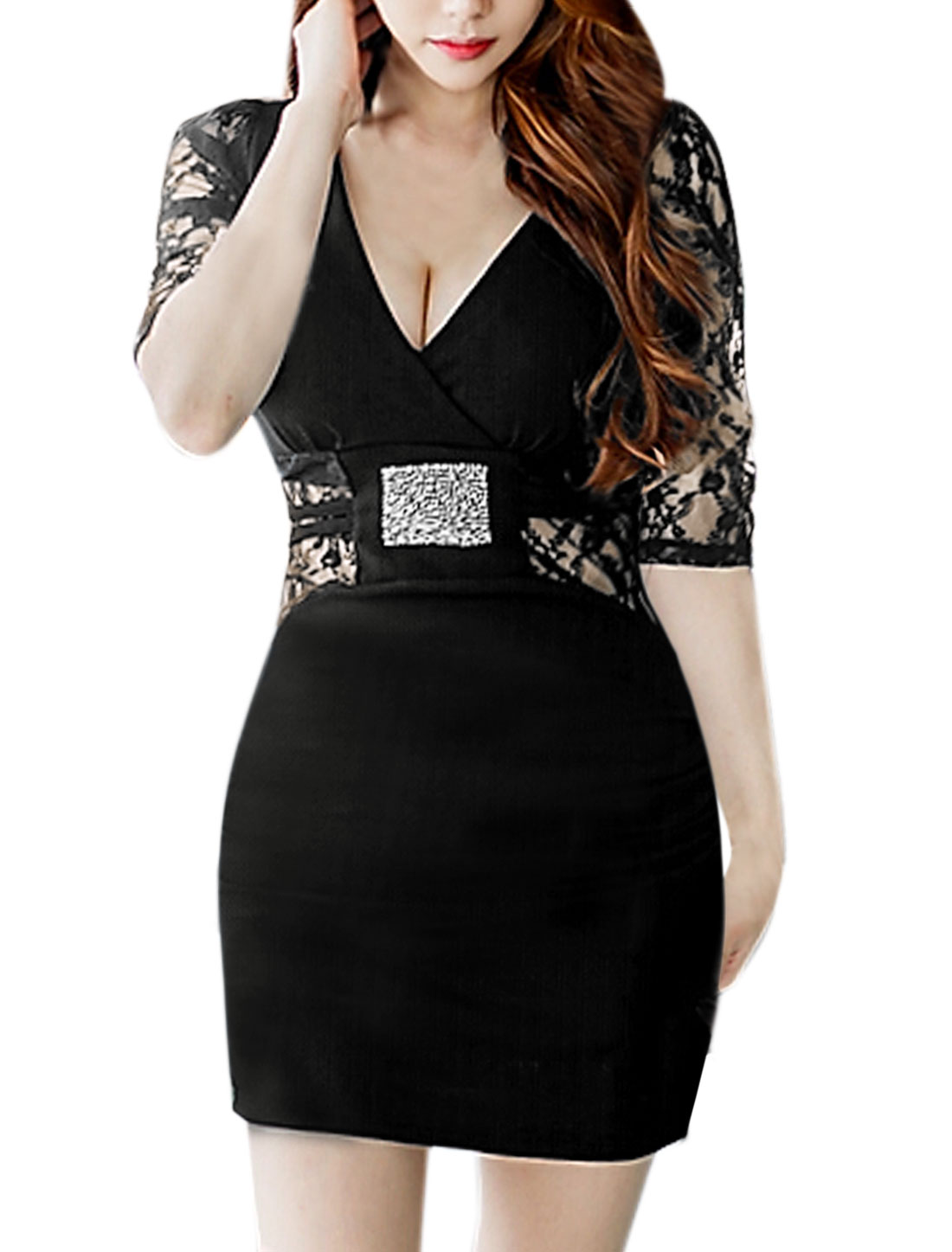 Women 1/2 Sleeves Lace Panel Crossover V Neck Mini Dress Black M