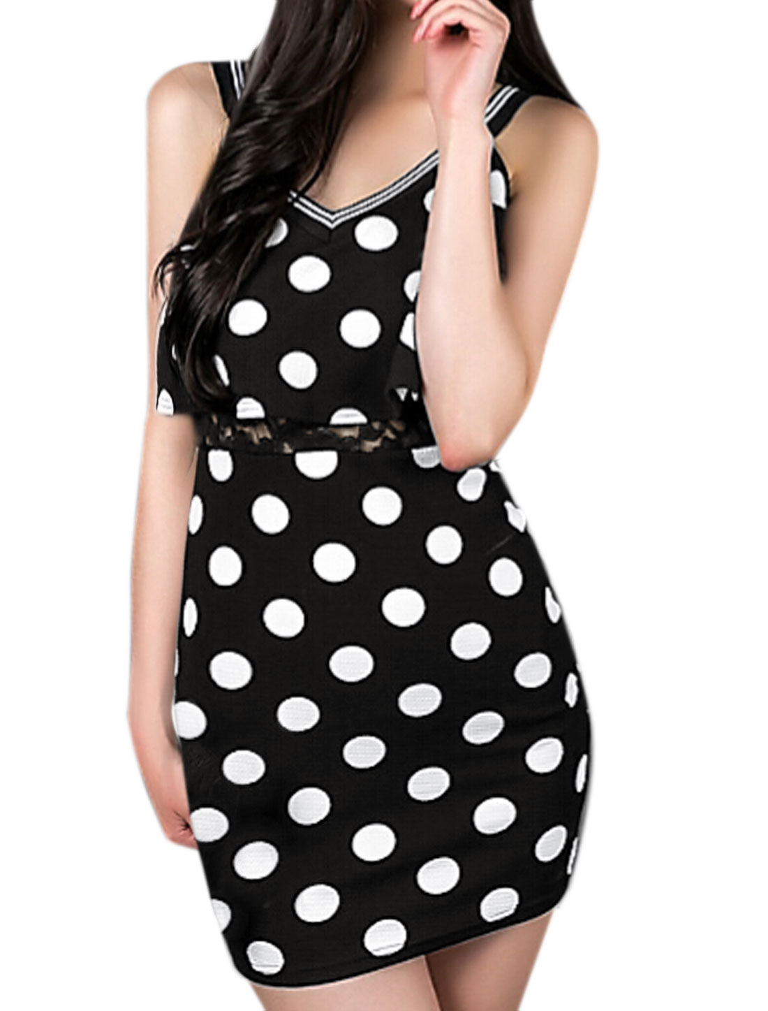 Women Sleeveless Overlay Upper Lace Panel Mini Dots Dress Black XS