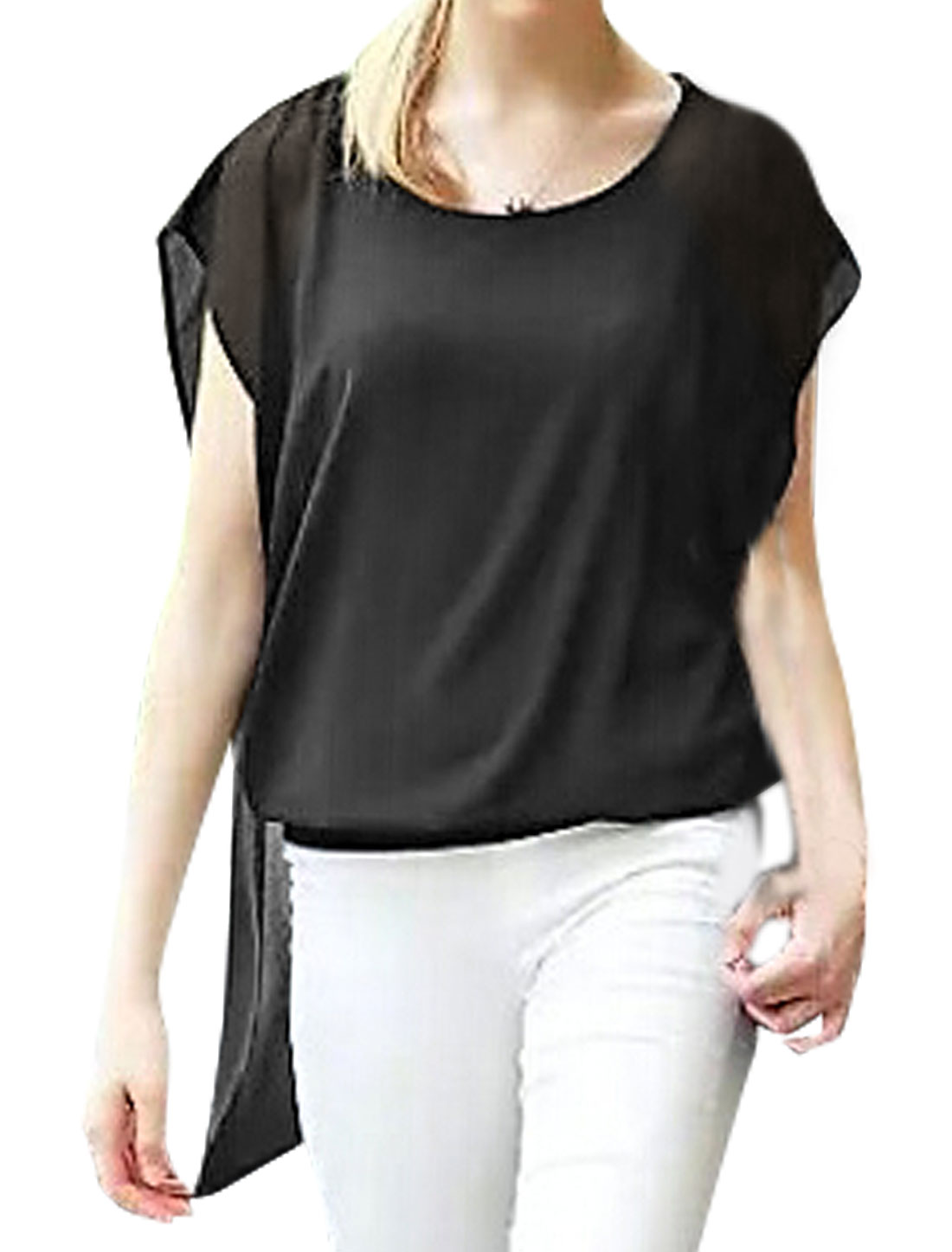 Women Butterfly Sleeves Layered High Low Hem Blouse Black XS