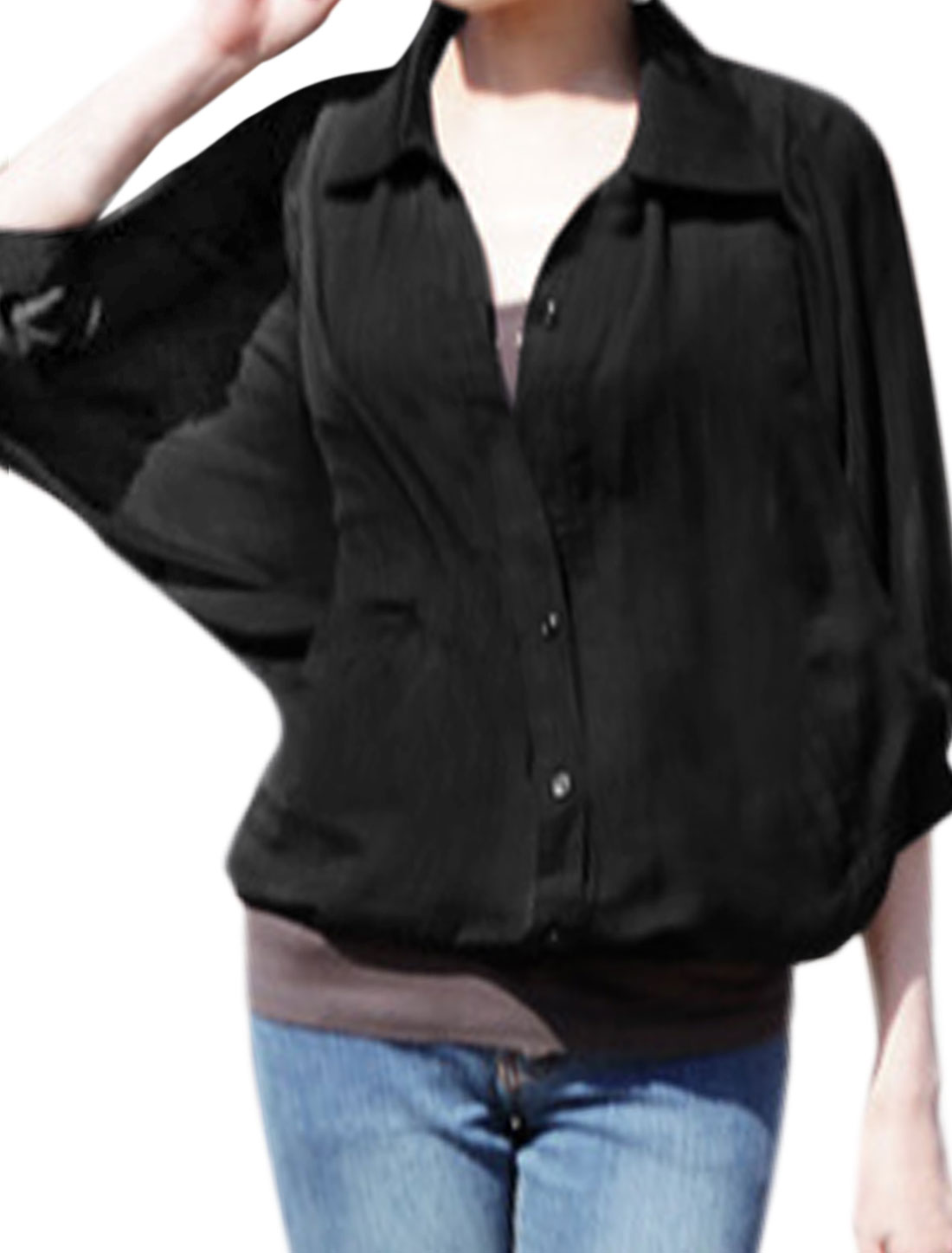 Women Buttoned Elastic Hem 3/4 Batwing Sleeves Casual Blouse Black XS