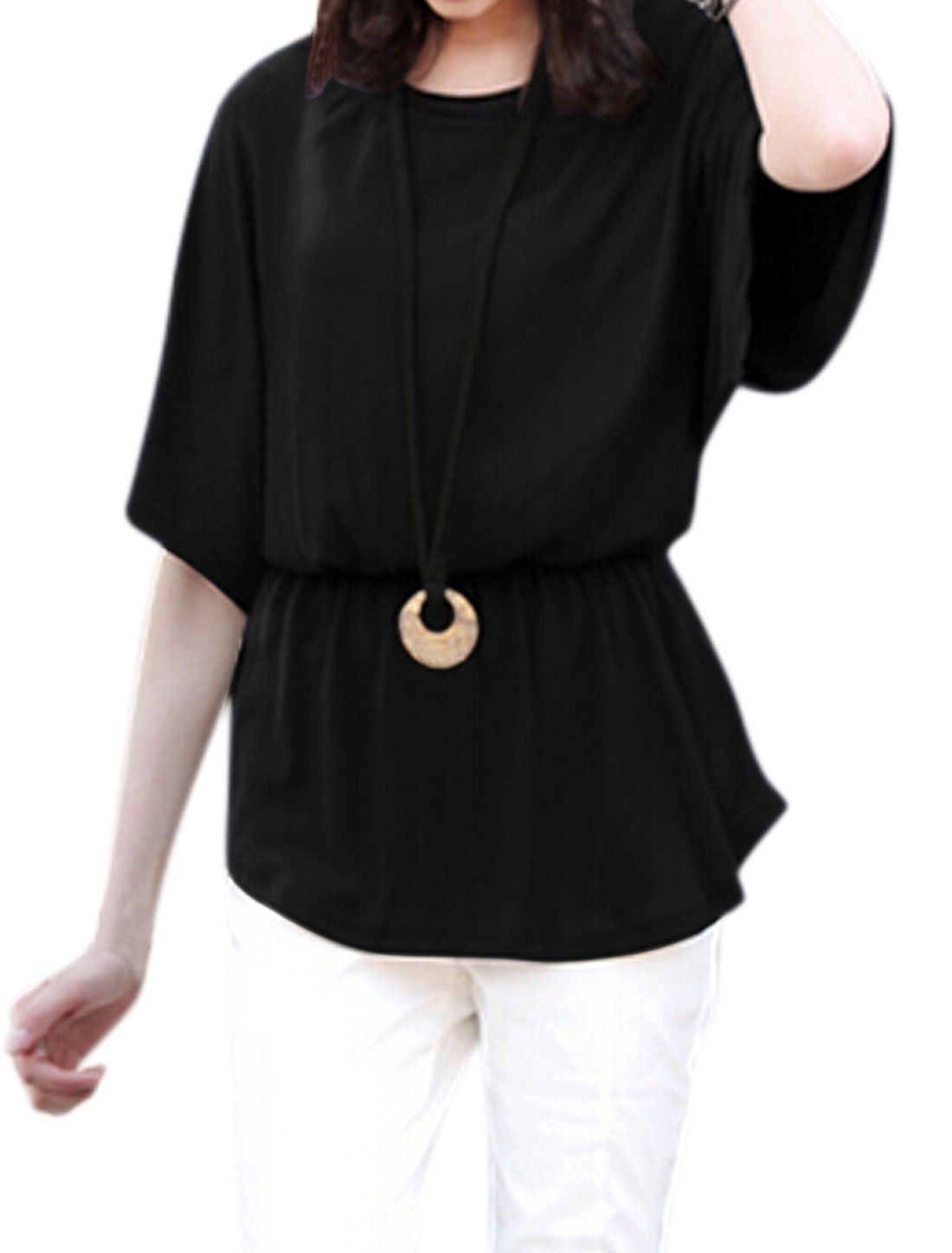 Women Elastic Waist Batwing Blouse w Sweater Cord Necklace Black XS
