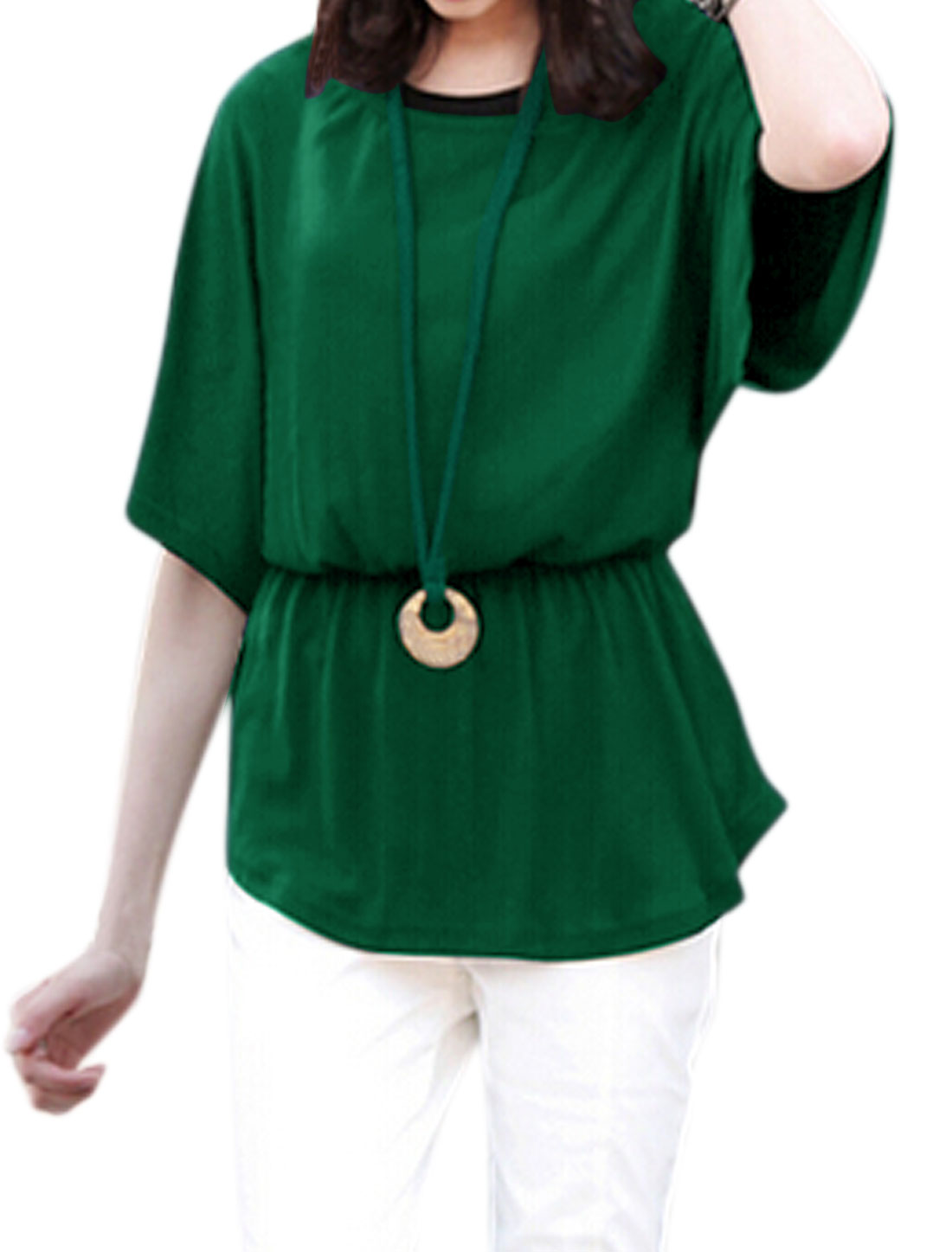 Women Elastic Waist Batwing Blouse w Sweater Cord Necklace Green XS