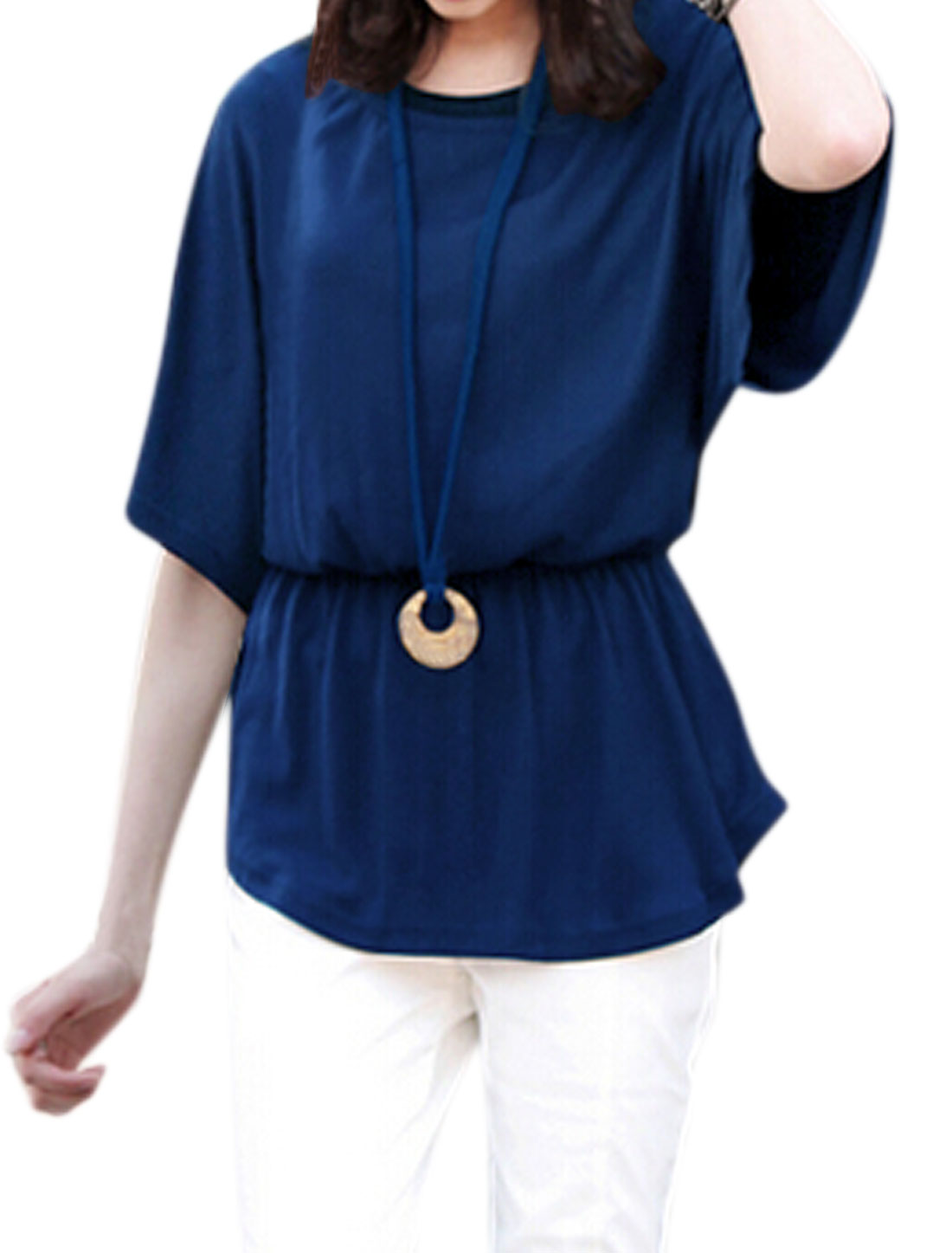 Women Elastic Waist Batwing Blouse w Sweater Cord Necklace Blue XS