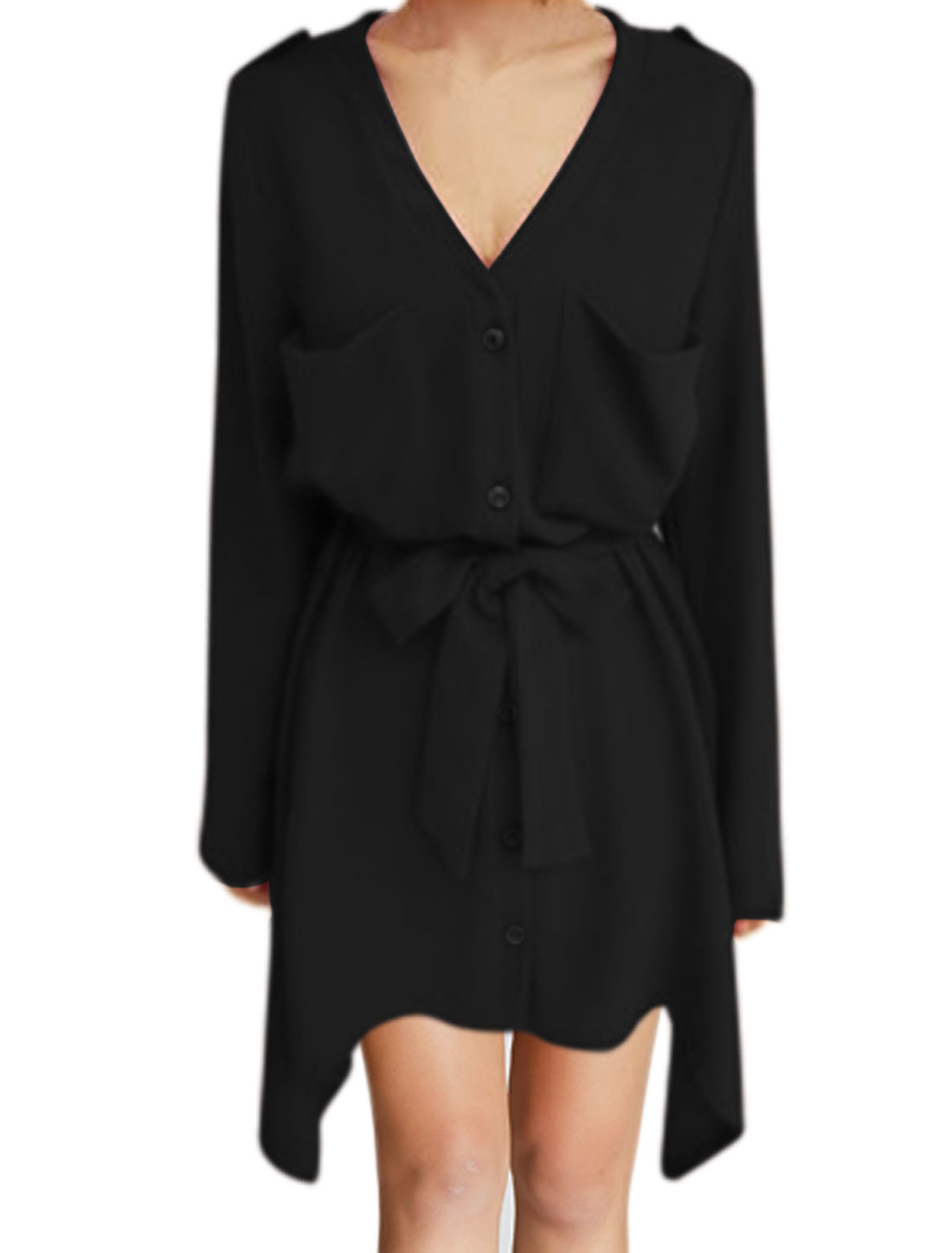 Women Roll Up Sleeves Waist String Asymmetric Shirt Dress Black XS