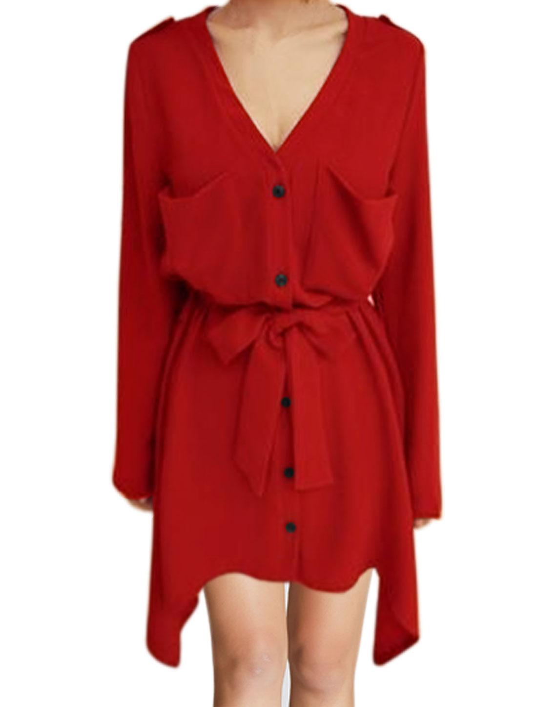 Women Roll Up Sleeves Waist String Asymmetric Shirt Dress Red XS