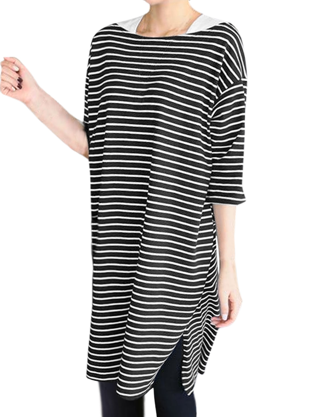 Woman Stripes Split Sides Layered Loose Tunic Top Black S