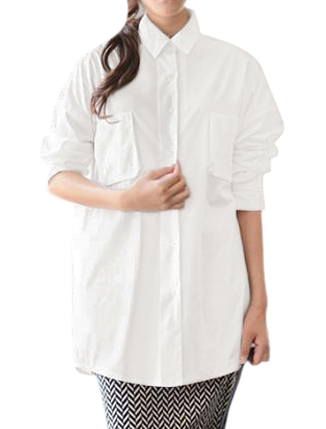 Women Dolman Sleeves Buttoned Chest Pockets Loose Tunic Blouse White XS