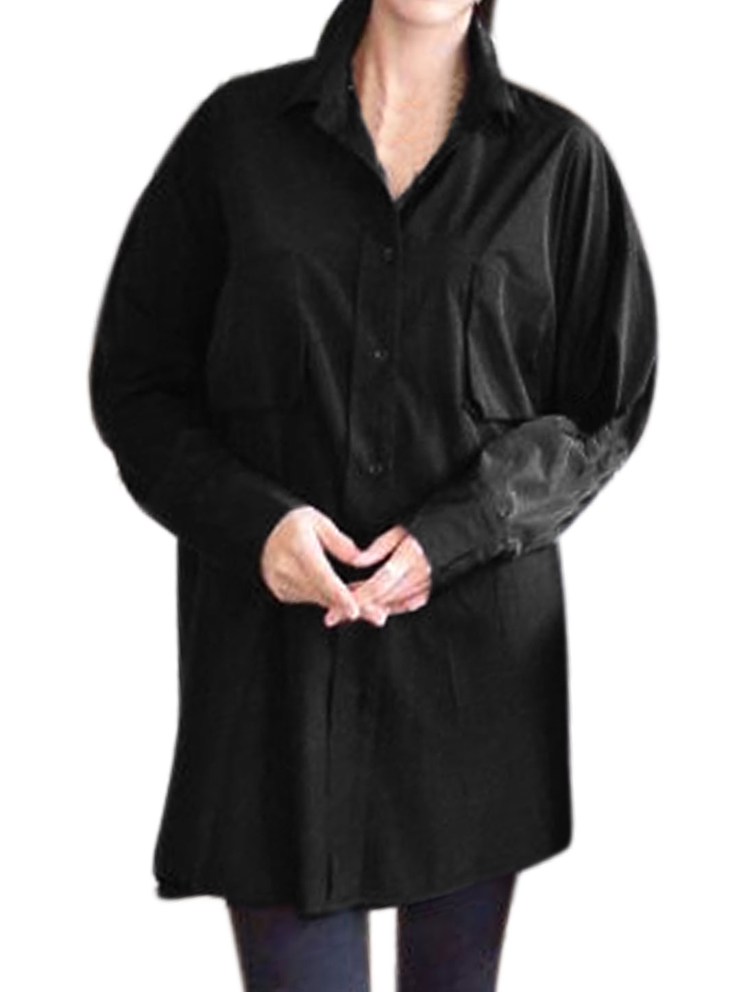 Women Dolman Sleeves Buttoned Chest Pockets Loose Tunic Blouse Black XS