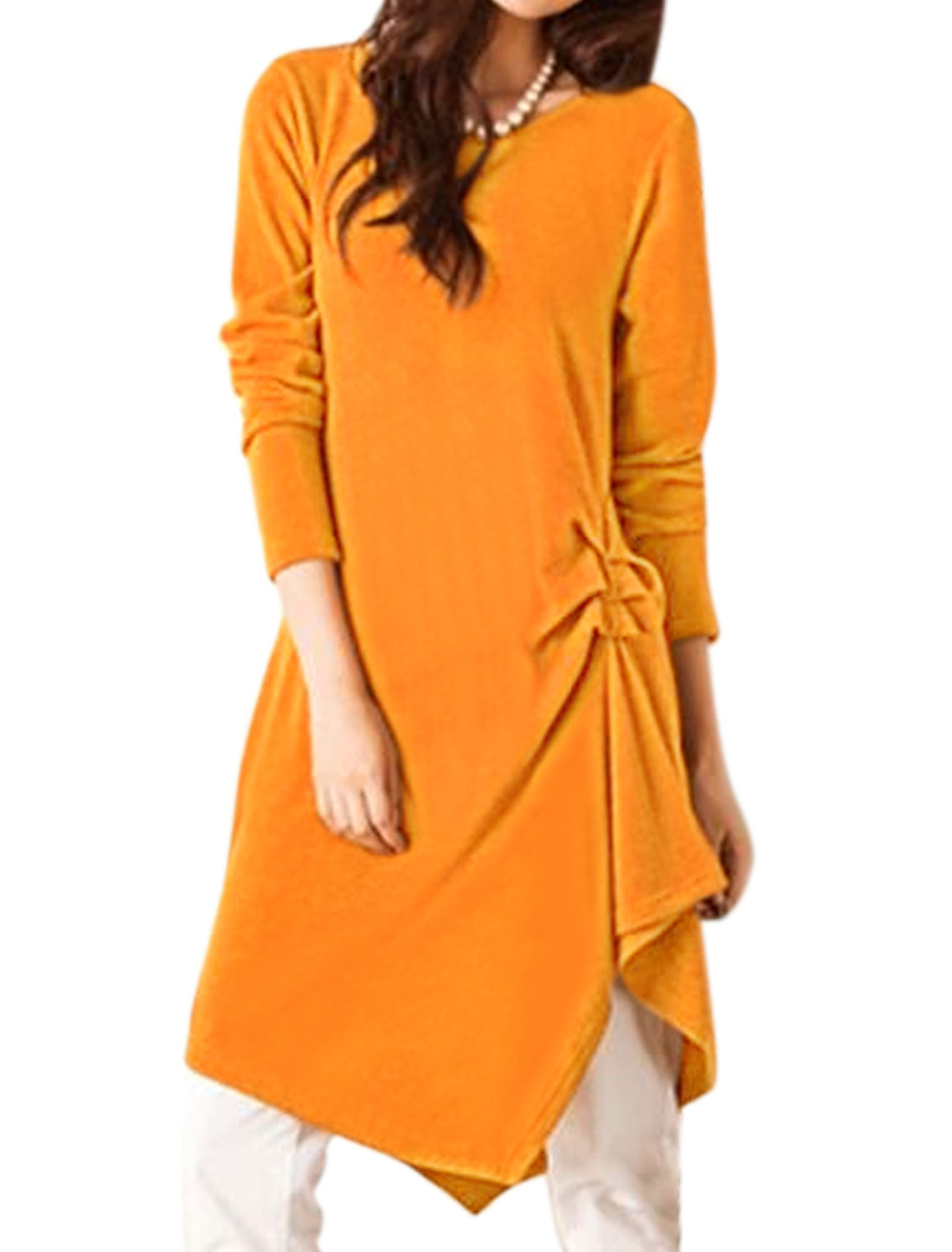 Women Long Sleeves Ruched Side Irregular Hem Tunic Dress Orange XS