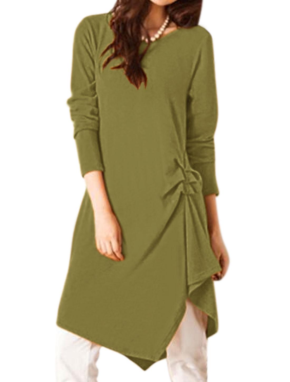 Women Long Sleeves Ruched Side Irregular Hem Tunic Dress Green XS