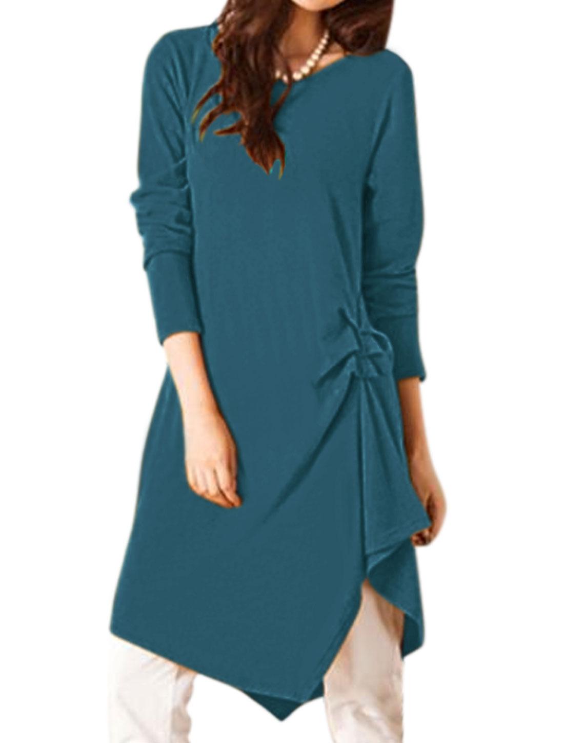 Women Long Sleeves Ruched Side Irregular Hem Tunic Dress Blue XS