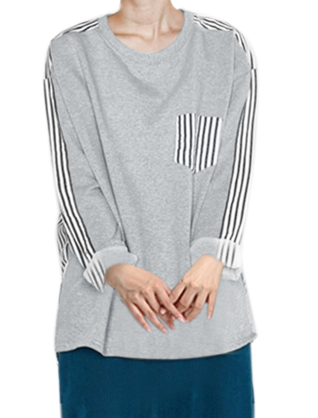 Women Long Sleeves Chest Pocket Paneled Striped Top Gray XS
