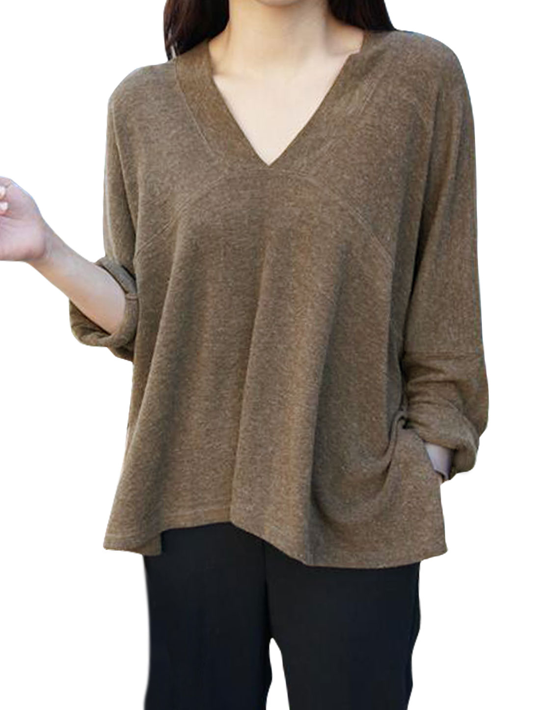 Women Deep V Neck Long Batwing Sleeves Loose Blouse Brown S