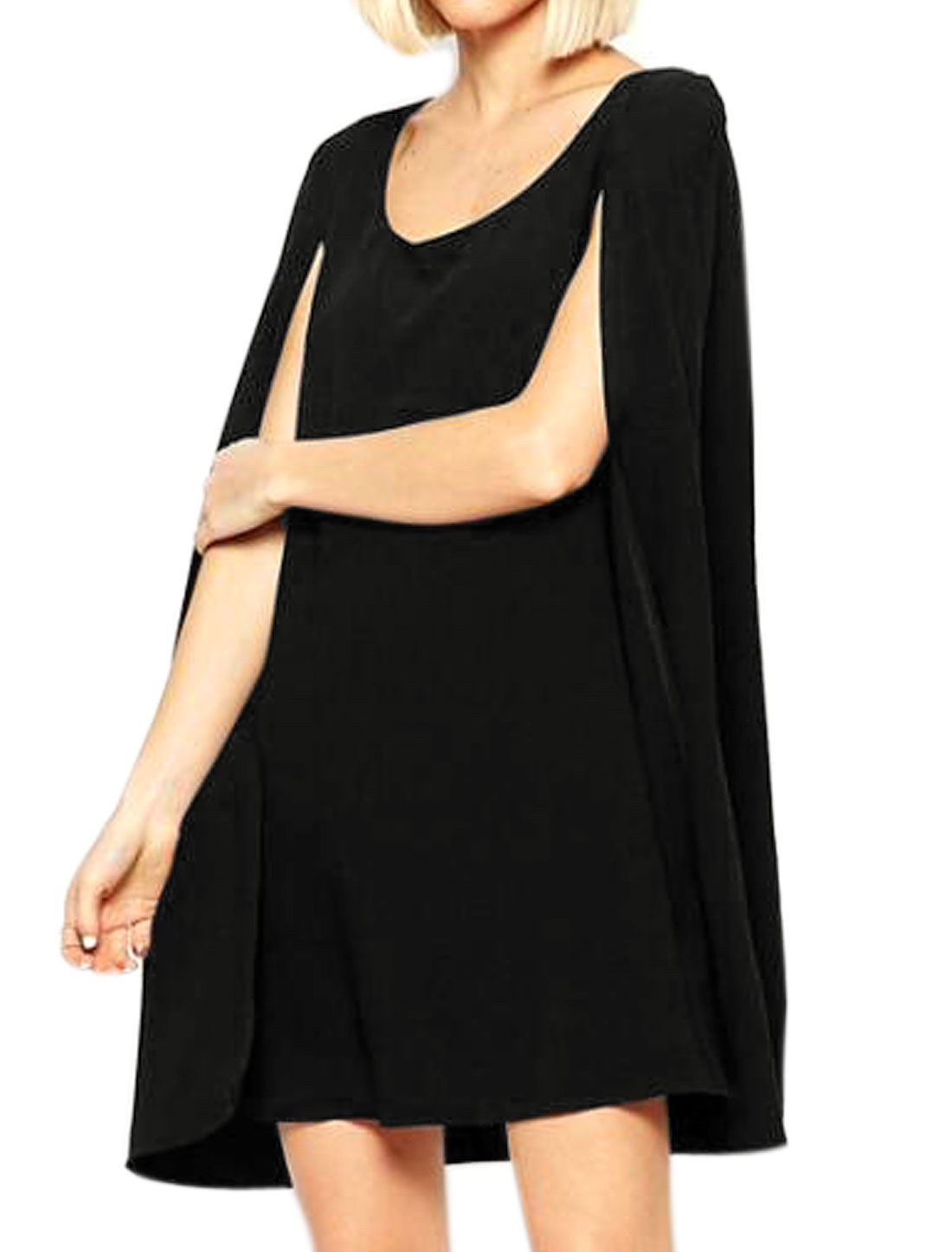 Women Scoop Neck Sleeveless Overlay Back Layered Cape Dress Black S