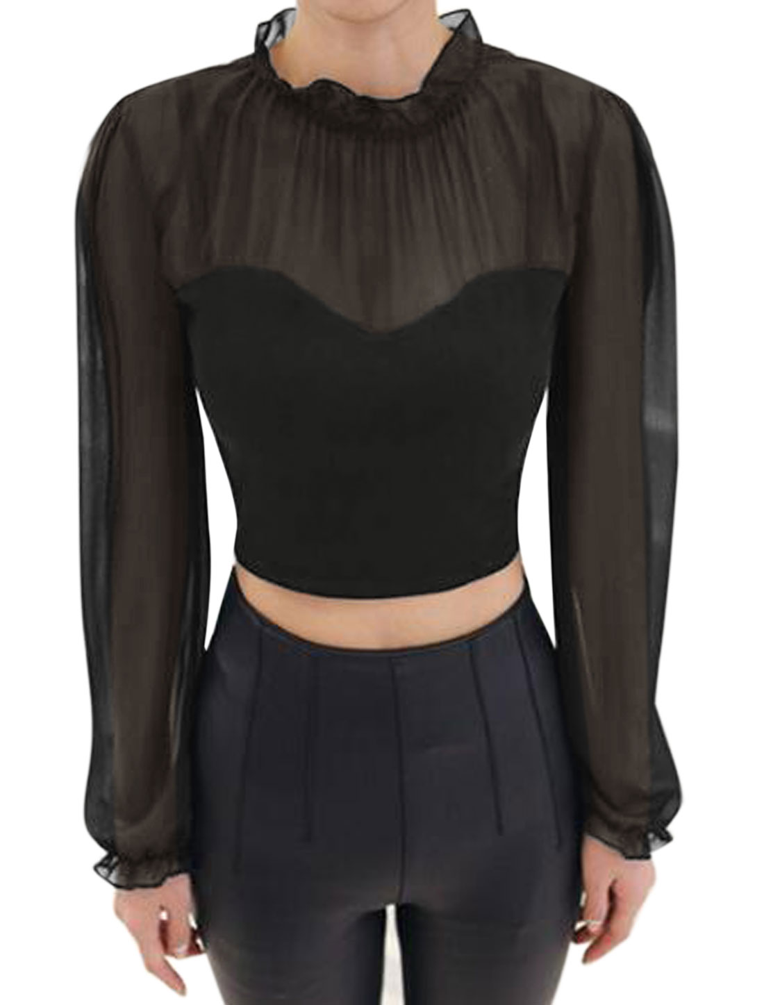 Women Ruffled Collar Semi Sheer Yoke Chiffon Panel Crop Top Black M