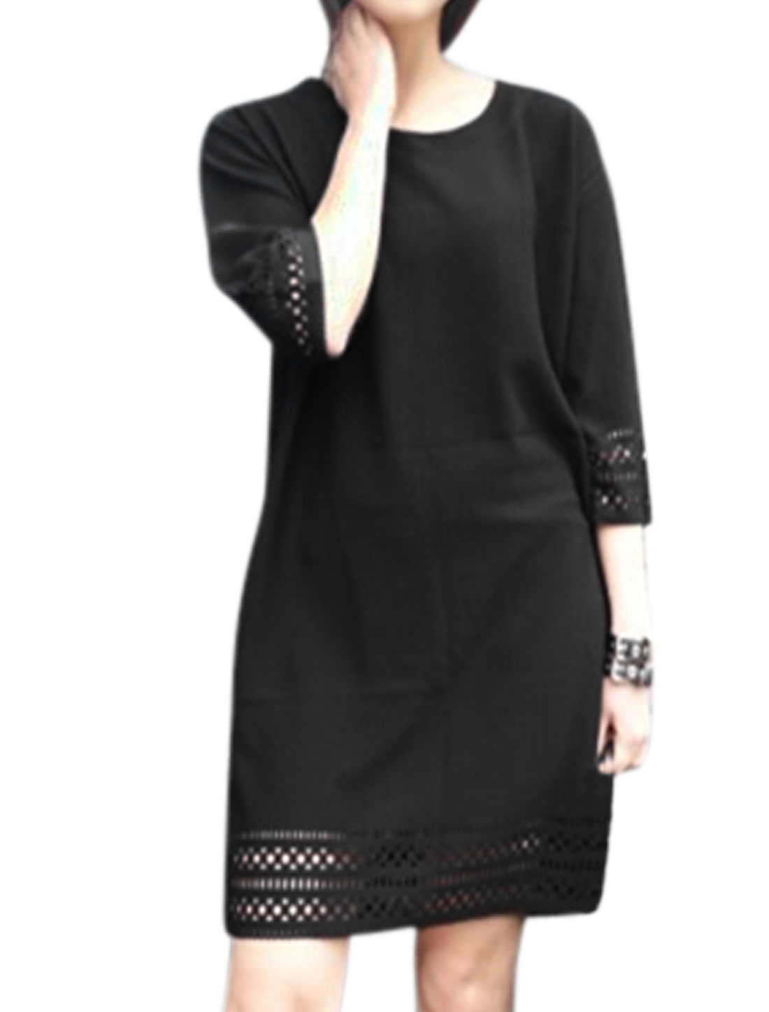 Woman 3/4 Sleeves Hollow Out Design Loose Tunic Top Black S