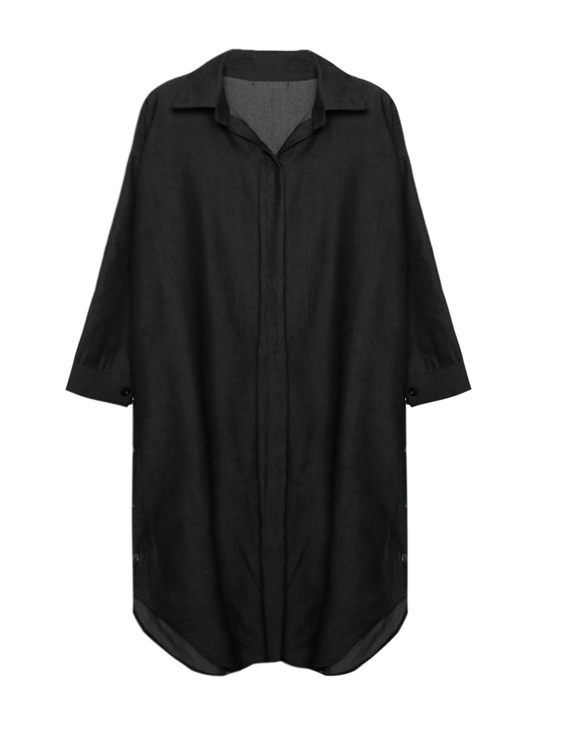 Women Snap Buttoned Sides Batwing Loose Tunic Blouse Black S