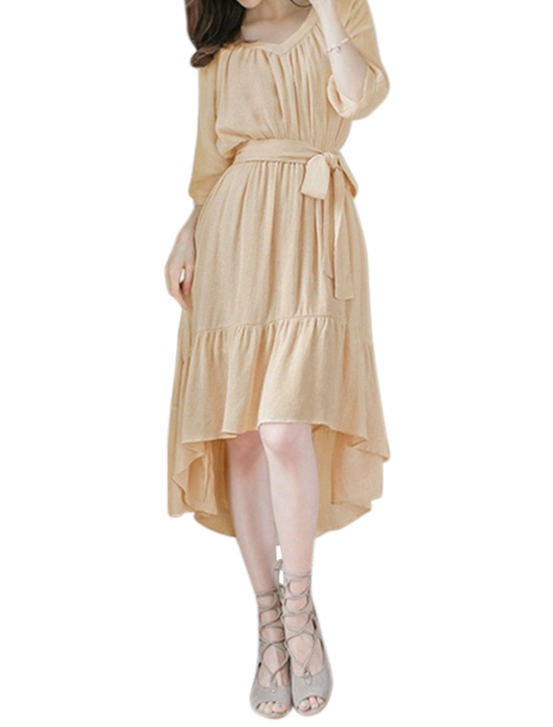 Women V Neck Textured Flouncing Hem High Low Dress w Belt Pink XS
