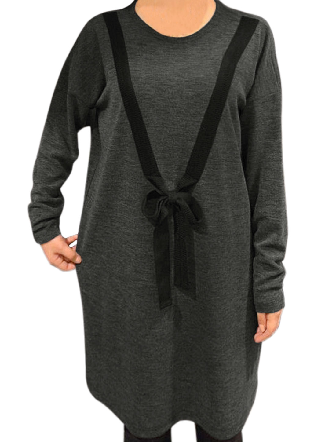 Women Self Tie Decor Drop Shoulder Loose Tunic Dress Gray S