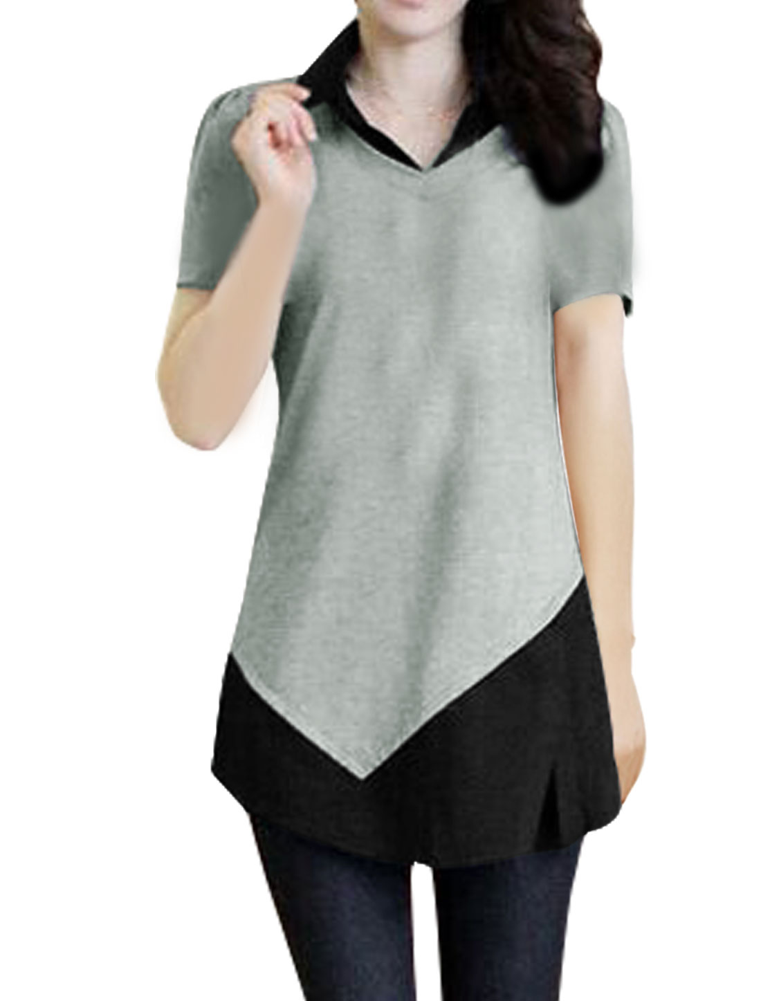 Women Split Side Color Block Paneled Tunic Layered Top Gray XS