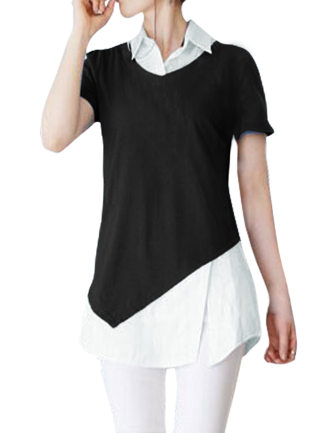 Women Split Side Color Block Paneled Tunic Layered Top Black XS