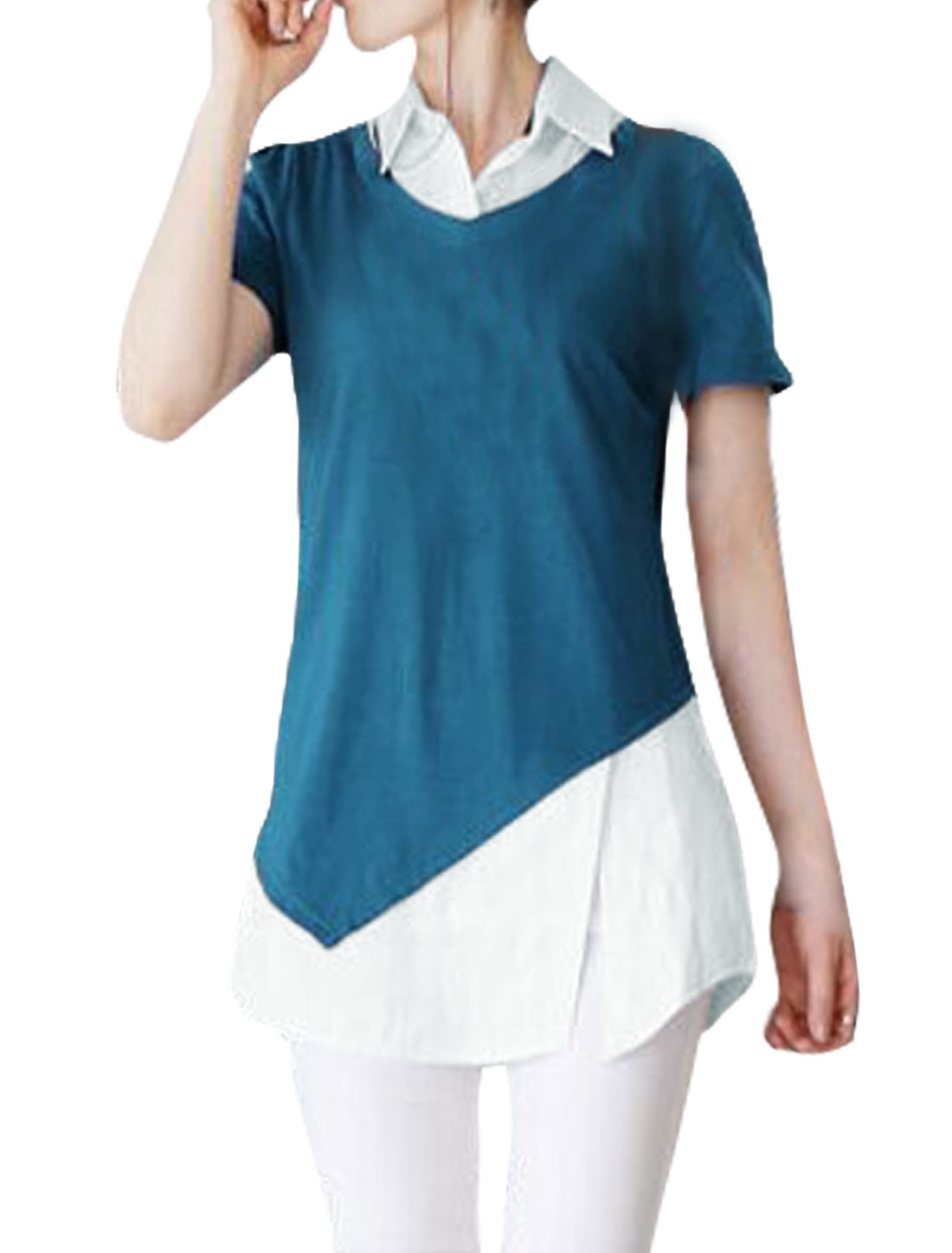 Women Split Side Color Block Paneled Tunic Layered Top Blue XS
