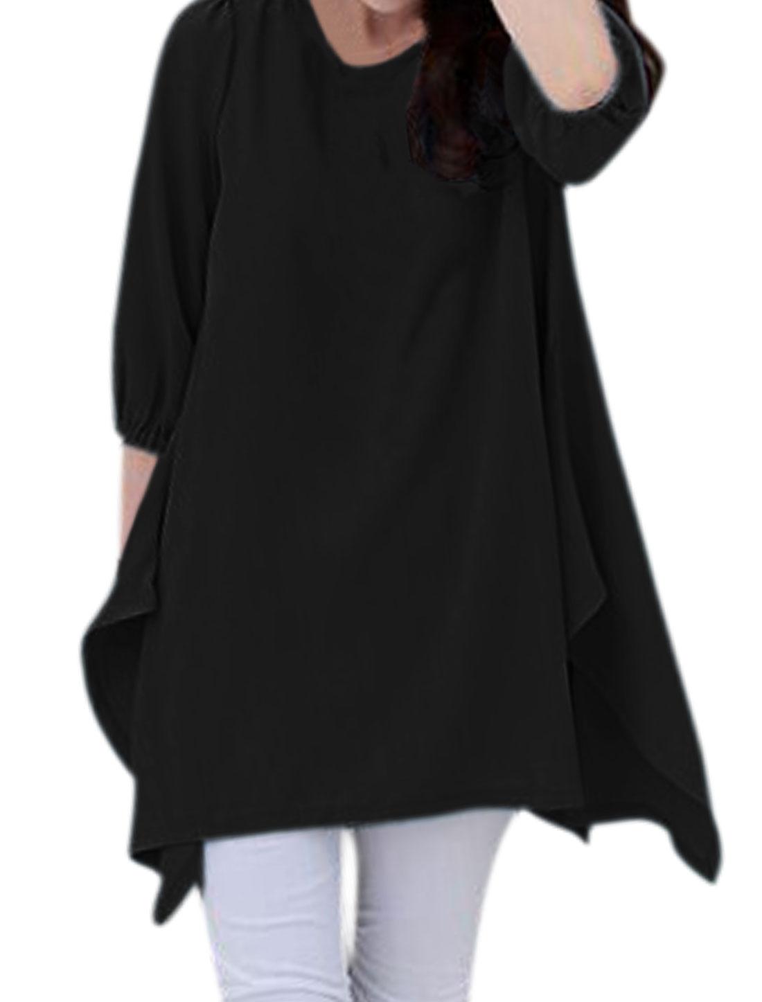 Women 3/4 Sleeves Self Tie Back Irregular Hem Loose Tunic Top Black M