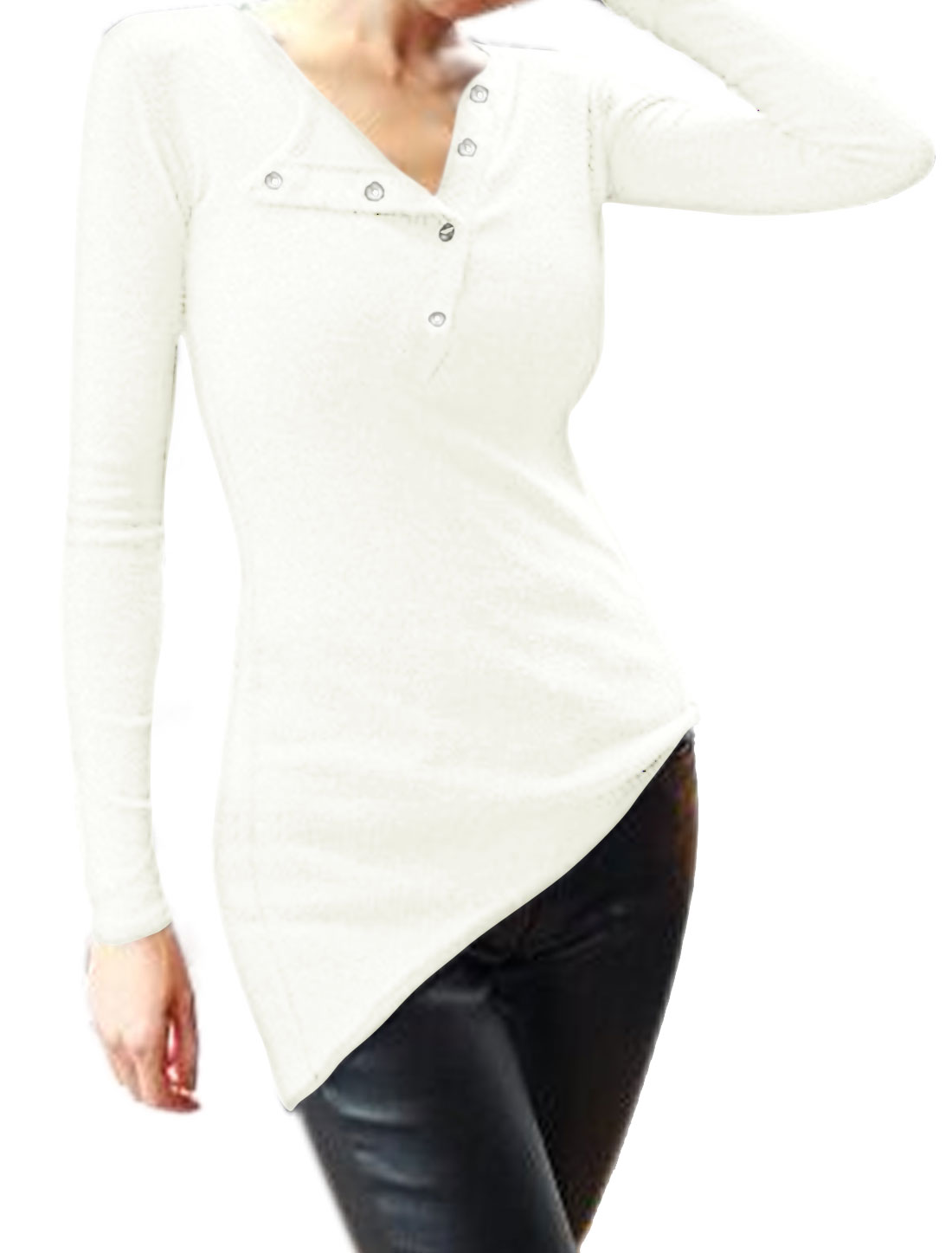 Women Long Sleeves Half Placket High Low Hem Slim Fit Top White S