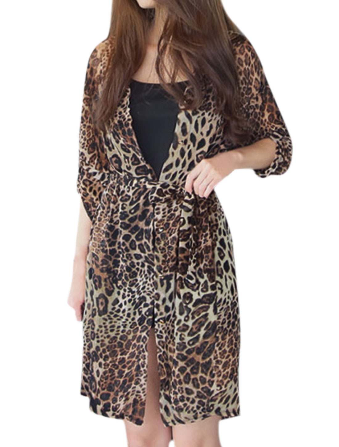 Women Semi Sheer Leopard Tunic Chiffon Cardigan w Waist String Brown S