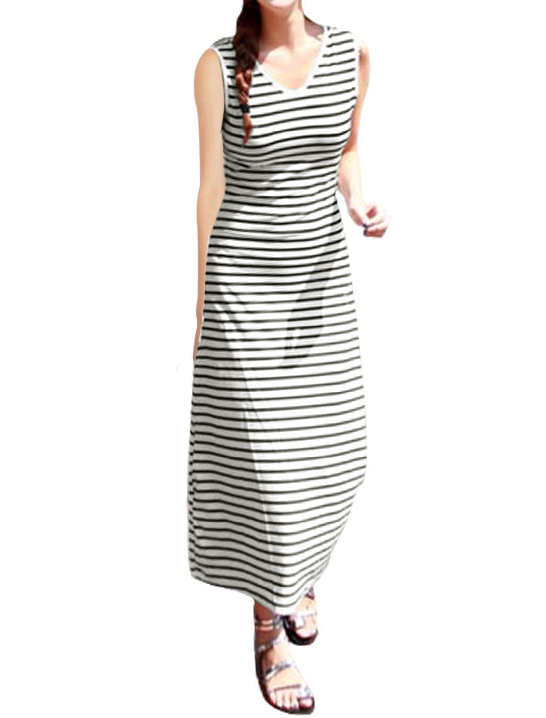 Woman V Neck Sleeveless Stripes Cut Out Knot Back Dress White XS