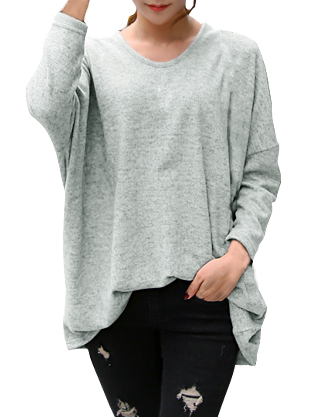 Women Round Neck Dolman Sleeves Loose Tunic Blouse Gray S
