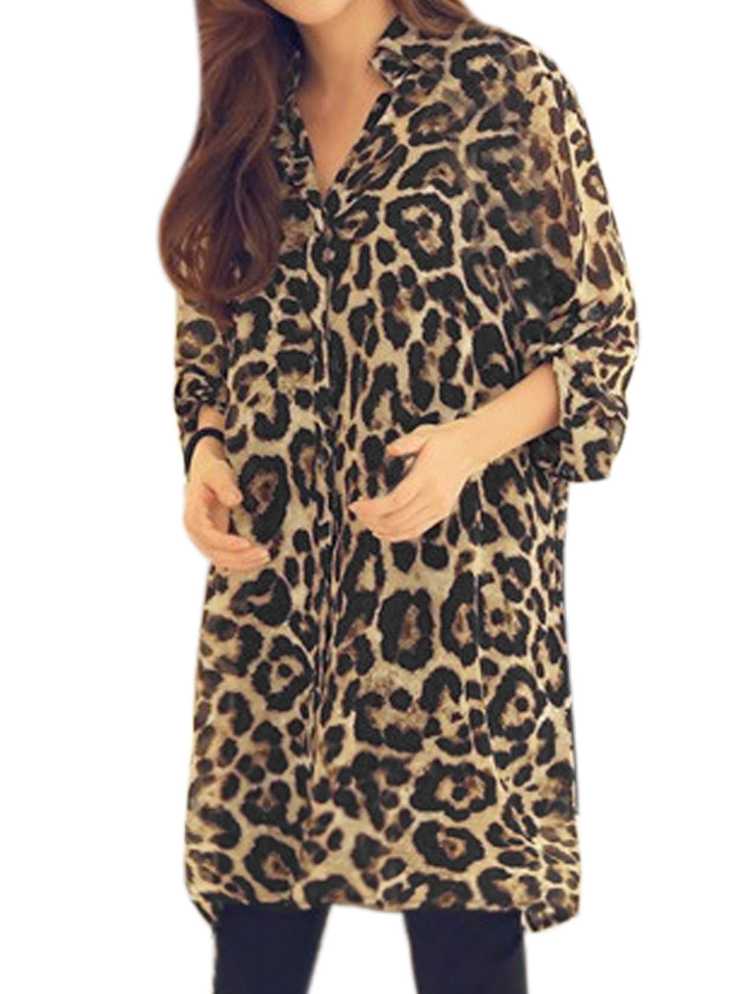 Woman Roll Up Sleeves Leopard Loose Chiffon Tunic Shirt Brown XS