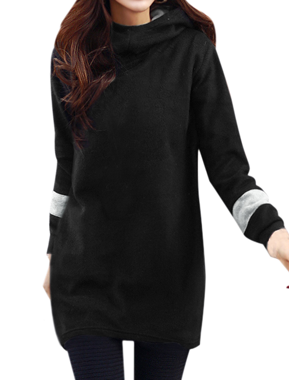 Woman Hooded Long Sleeves Tunic Sweatshirt Dress Black S