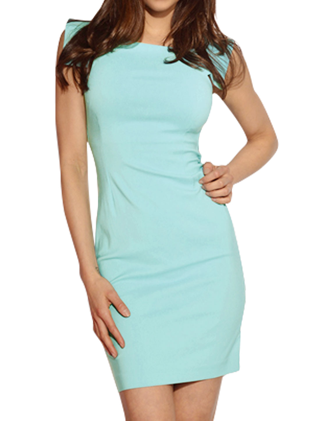 Women Square Neck Sleeveless Above Knee Pencil Dress Blue S