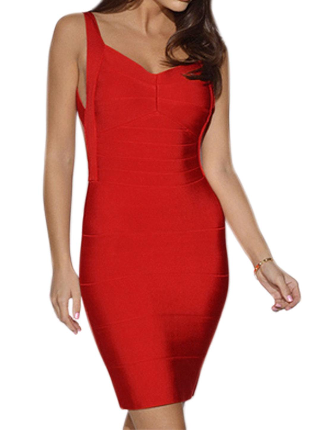 Women Asymmetric Neck Straps Backless Bodycon Dress Red S