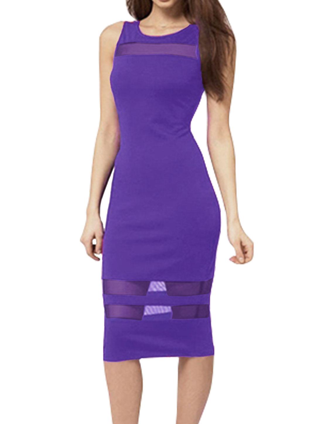 Women Sleeveless Open Back Mesh Panel Pencil Dress Purple XS