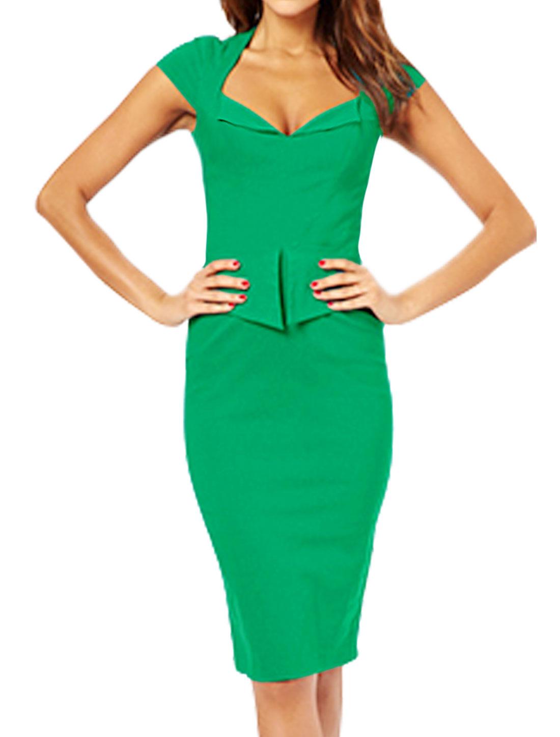 Women Asymmetric Neck Cap Sleeves Layered Sheath Dress Green L