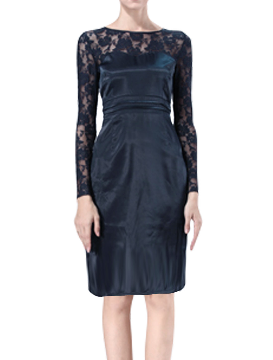 Women Long Sleeves Semi Sheer Lace Panel Sheath Dress Blue S