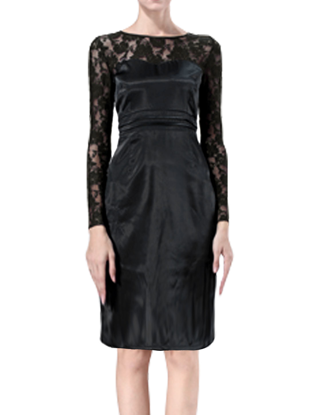 Women Long Sleeves Semi Sheer Lace Panel Sheath Dress Black S