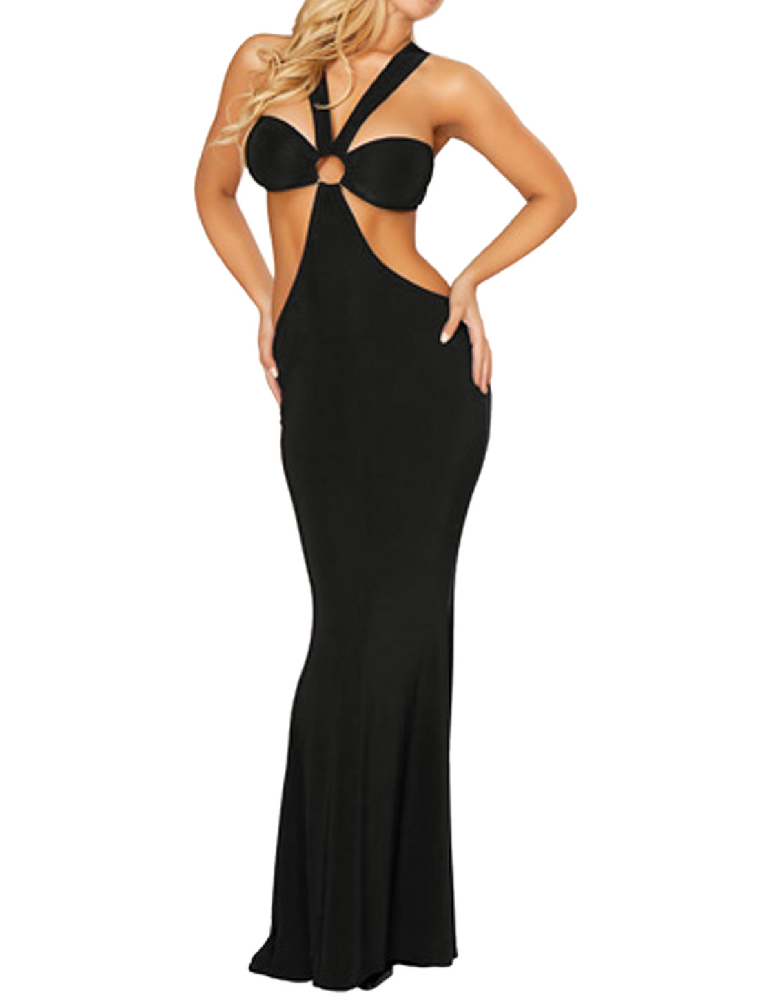 Women Halter Neck Metal Cut Out Maxi Dress w Thong Black S