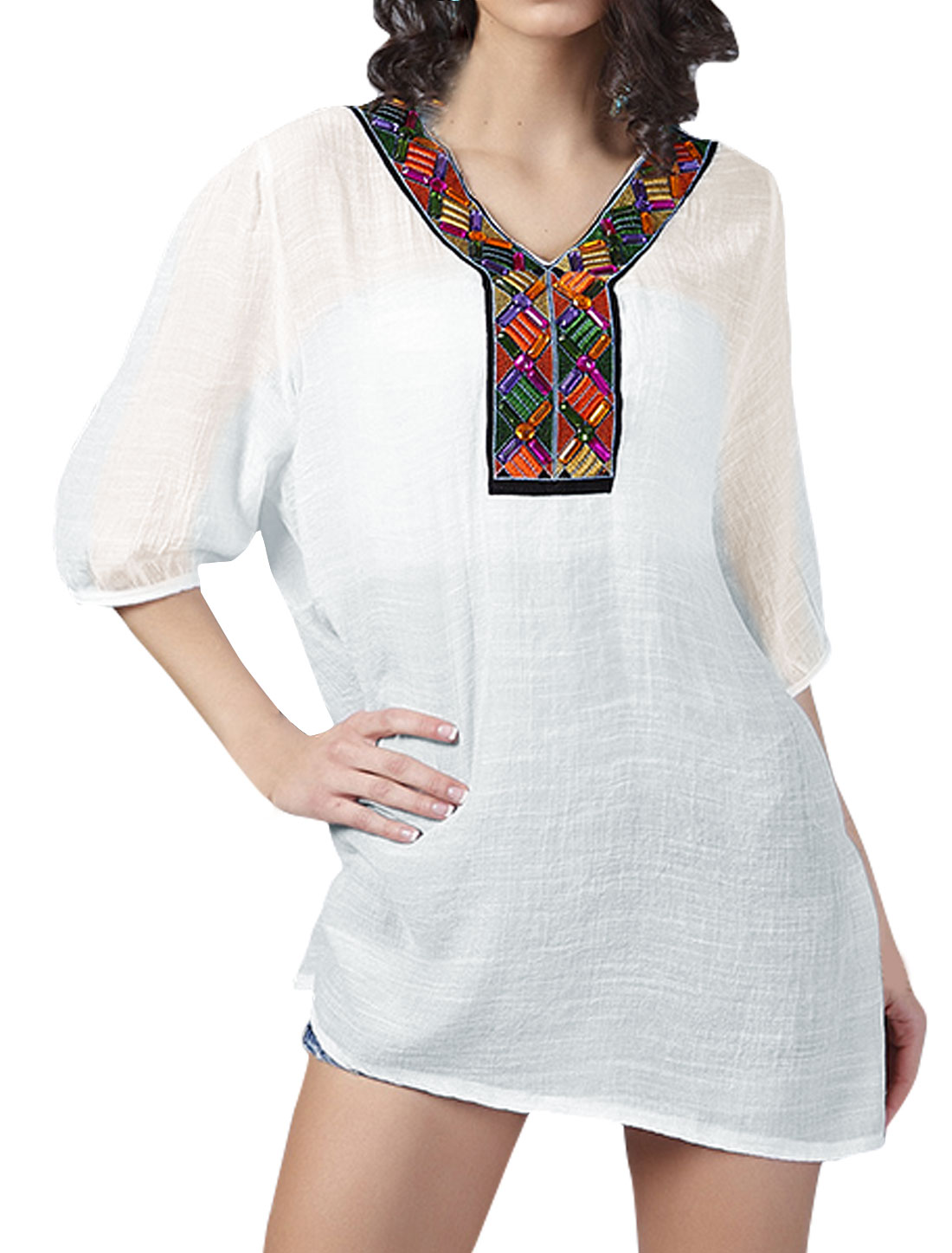 Women 1/2 Sleeves Embroidery Rhinestone Decor Tunic Top White S