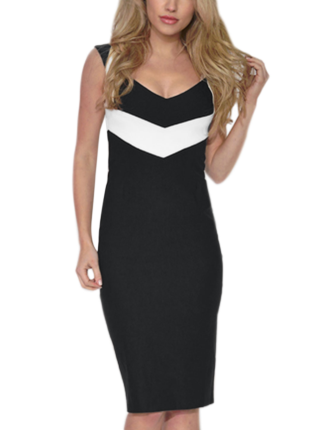 Women Deep V Neck Sleeveless Contrast Color Pencil Dress Black S