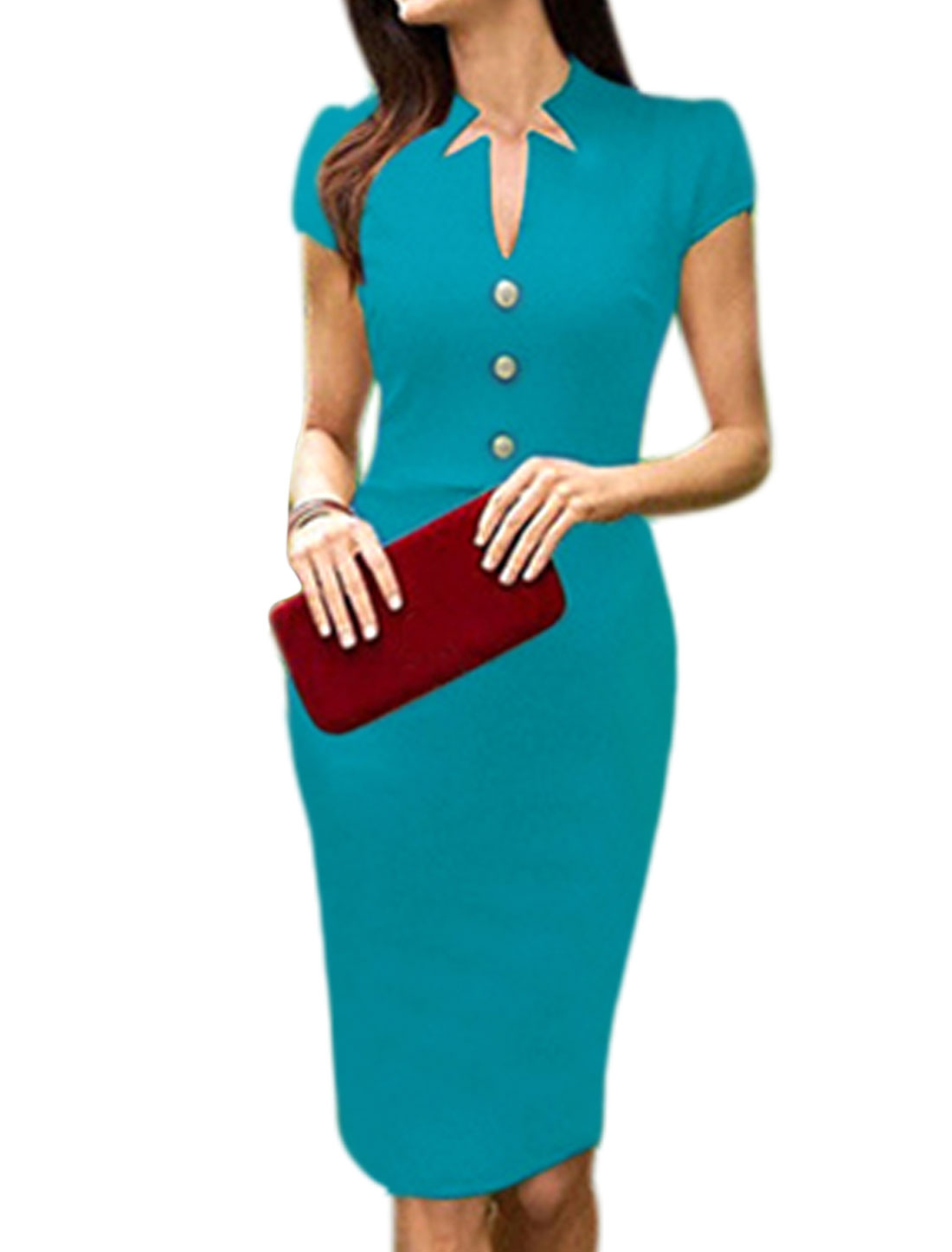 Women Asymmetric Neck Buttons Decor Split Back Sheath Dress Blue M