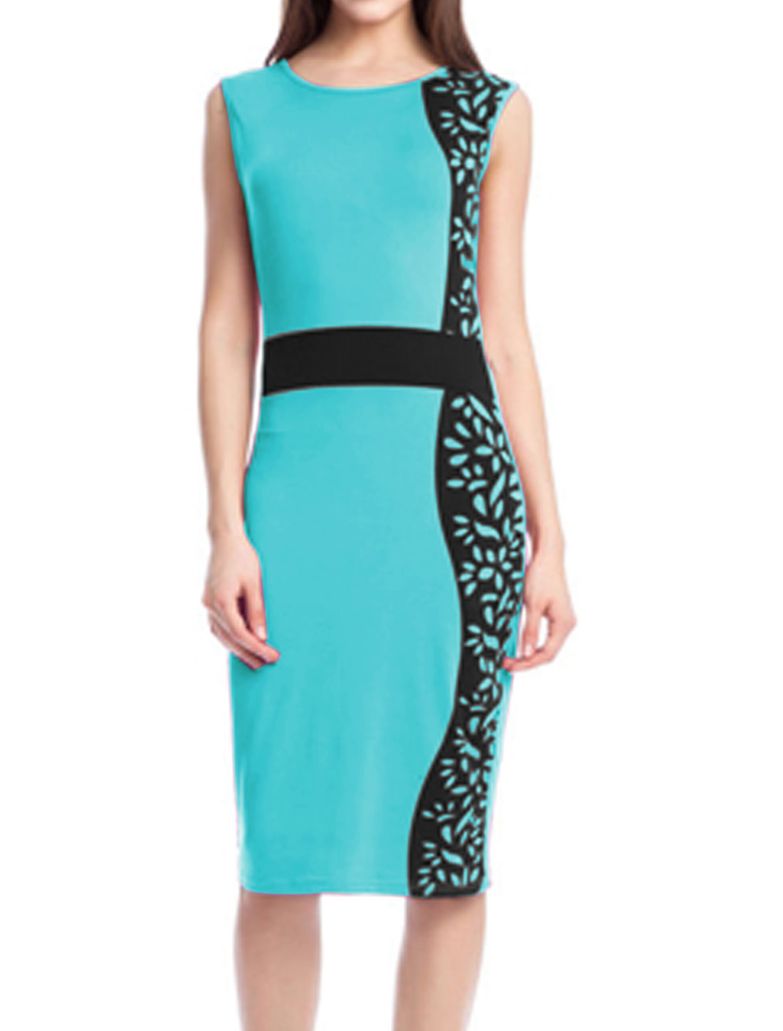 Women Sleeveless Contrast Color Novelty Pencil Dress Blue L